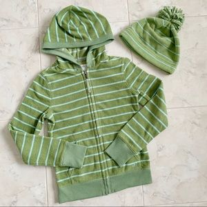 Set: Fleece Green & Blue Striped Jacket & Hat